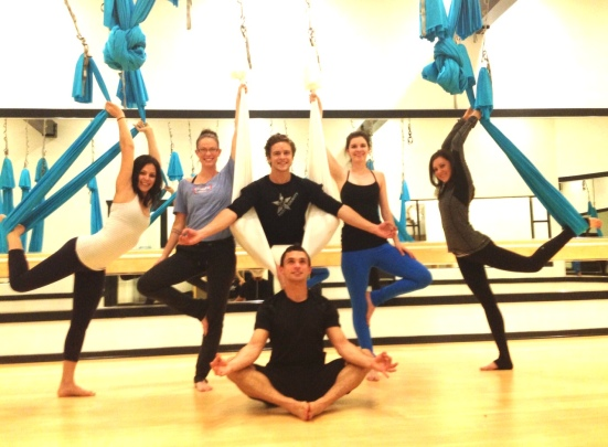 Trying out anti-gravity yoga at our community's newest studio, CoolHotYoga Calabasas!