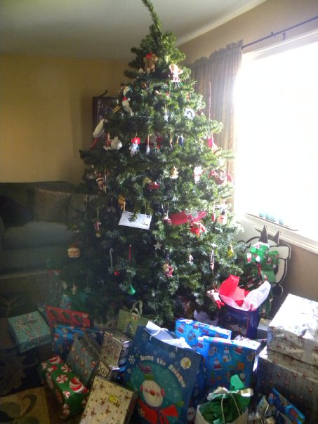 In my usual family tradition, there are so many presents that we can't walk through the living room!