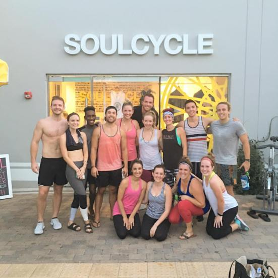 Getting our sweat on at SoulCycle.